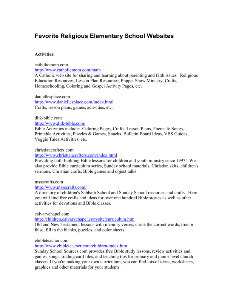 Favorite Religious Elementary School Websites - Free Printable Youth Bible Study Lessons