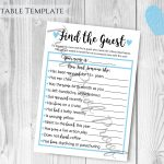 Find The Guest Baby Shower Game Boy Baby Shower Blue Themed | Etsy   Find The Guest Baby Shower Game Free Printable