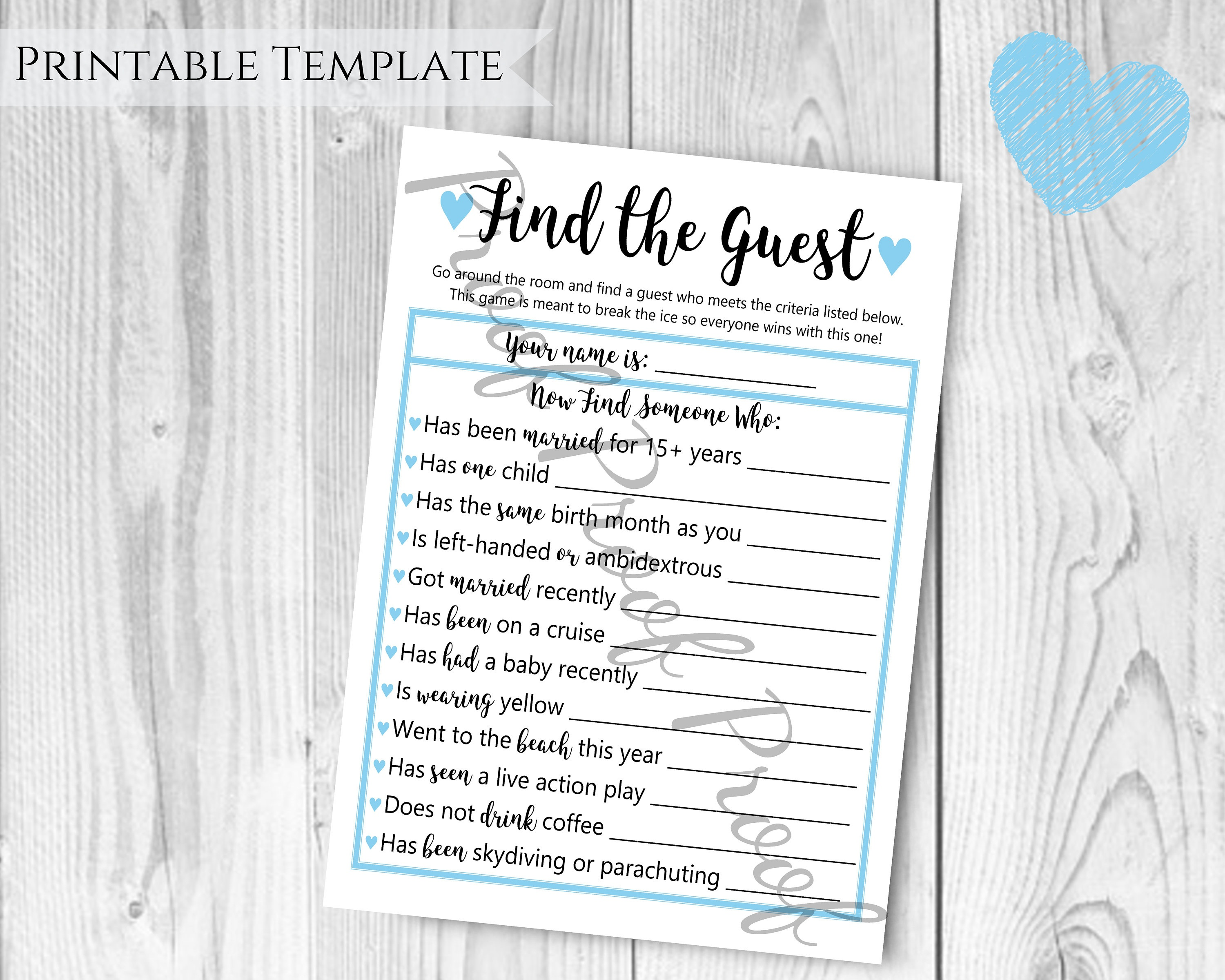 Find The Guest Baby Shower Game Boy Baby Shower Blue Themed | Etsy - Find The Guest Baby Shower Game Free Printable