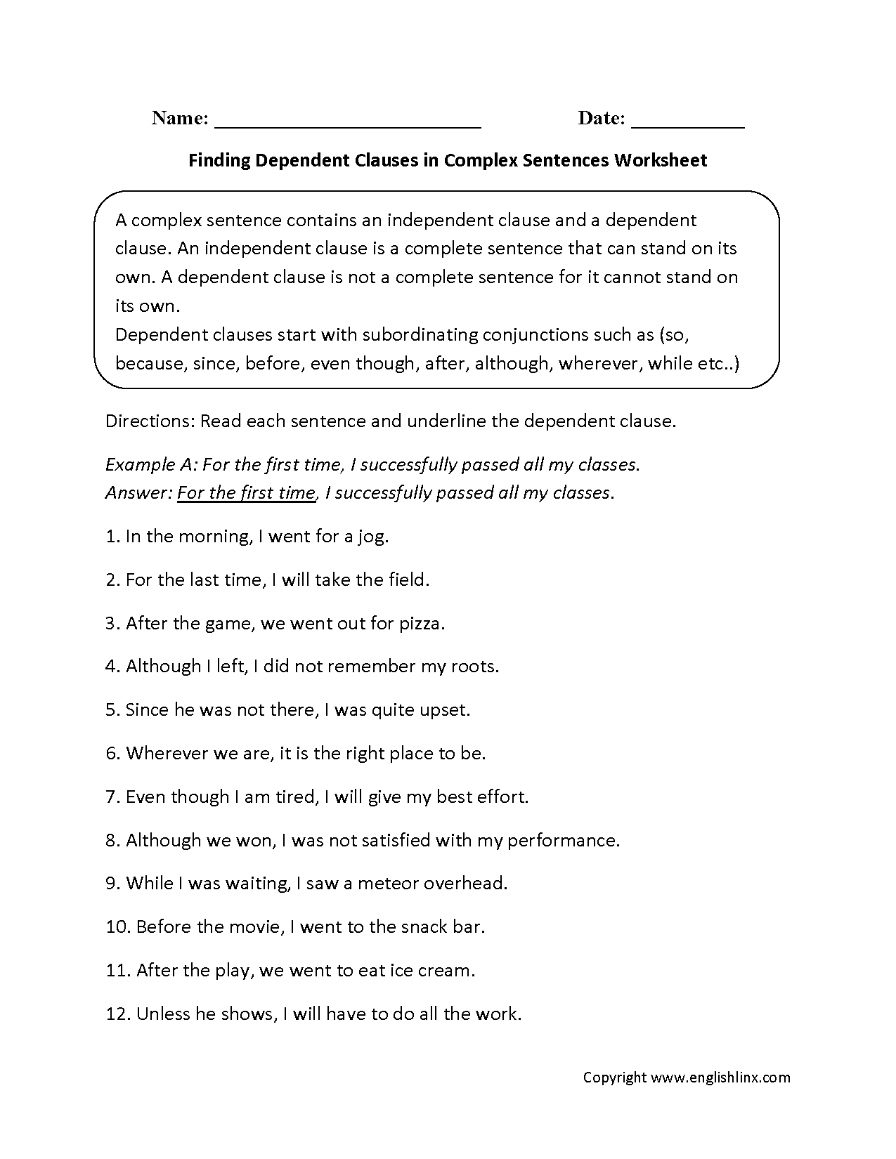 Finding Dependent Clauses Complex Sentences Worksheets | Art Things - Free Printable Simple Sentences Worksheets