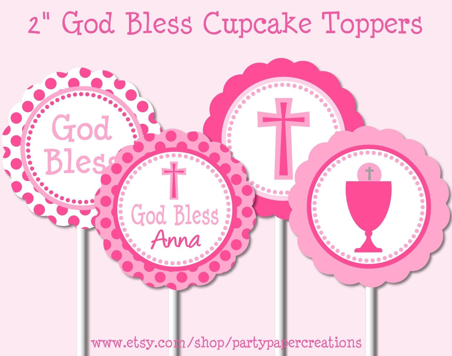 First Communion Party Printables Christening Cupcake Toppers Baptism - Free Printable First Communion Cupcake Toppers