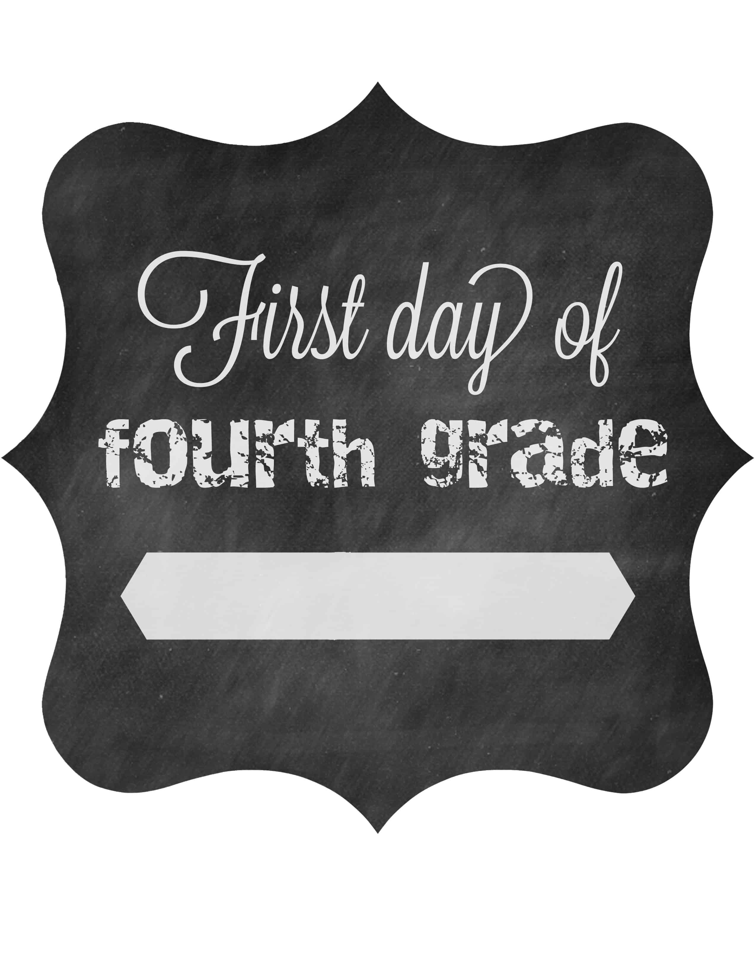 First Day Of School Free Printable Signs 2014 • The Pinning Mama - First Day Of Fourth Grade Free Printable