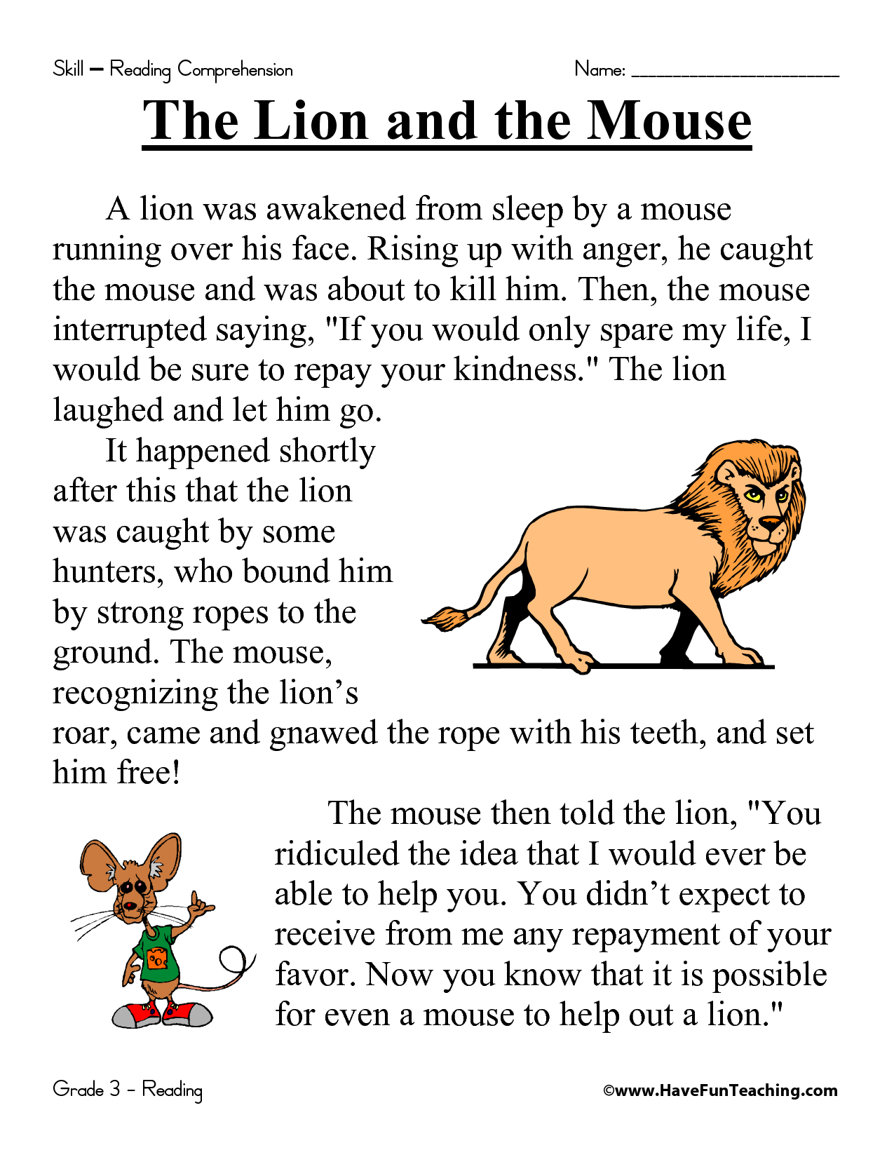 First Grade Reading Comprehension Worksheets | The Lion And The - Free Printable Short Stories For Grade 3
