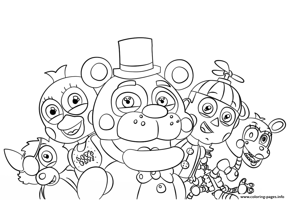 Five Nights At Freddys All Characters Coloring Pages Printable - Five Nights At Freddy's Free Printables