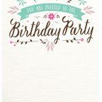 Flat Floral   Free Printable Birthday Invitation Template   Free Printable Birthday Invitation Cards