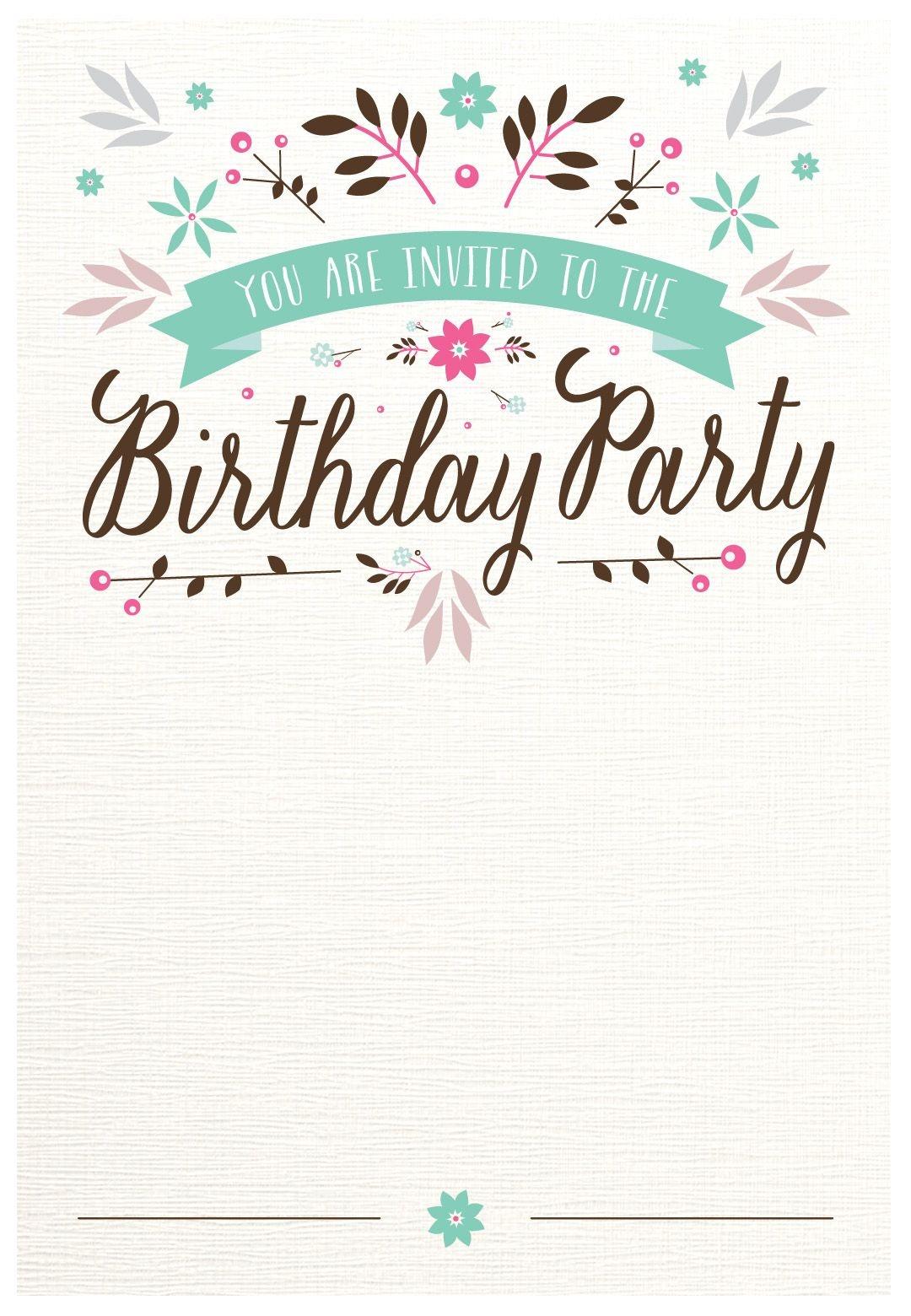 Flat Floral - Free Printable Birthday Invitation Template - Free Printable Birthday Invitation Cards Templates