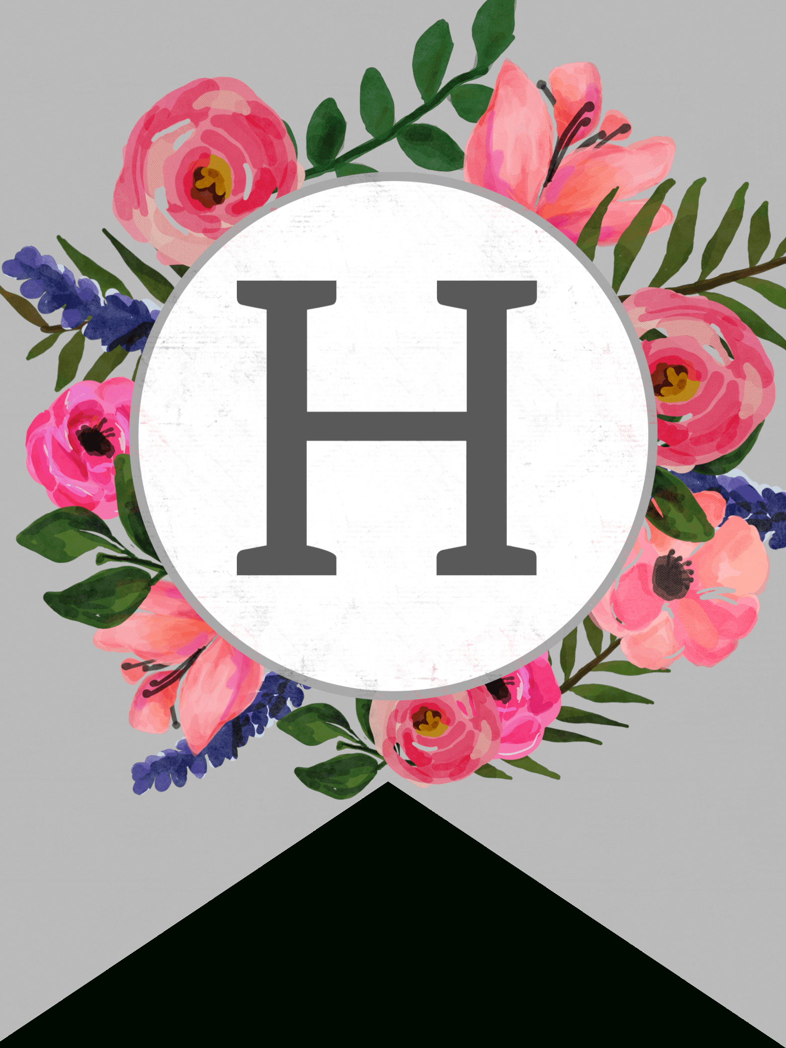 Floral Alphabet Banner Letters Free Printable - Paper Trail Design - Free Printable Alphabet Letters For Banners