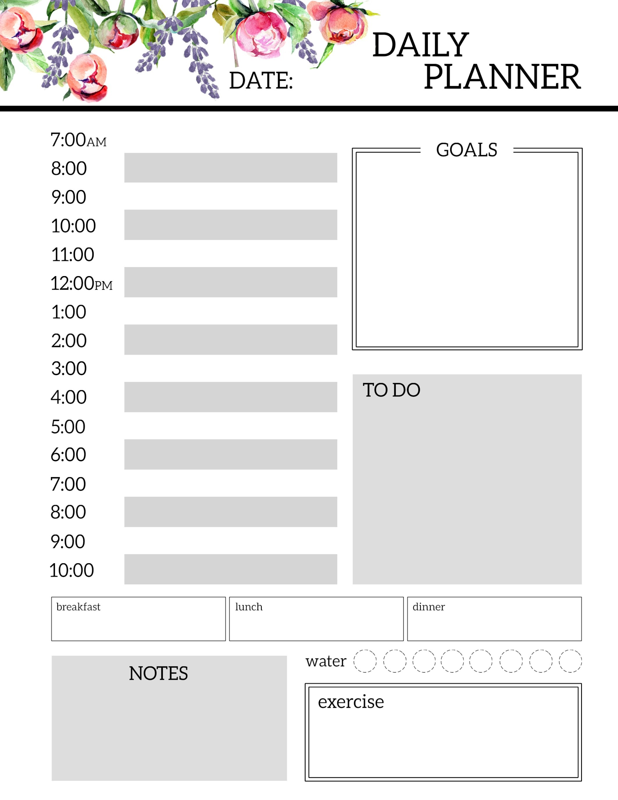 Floral Free Printable Daily Planner Template Sheets - Paper Trail Design - Free Printable Daily Schedule