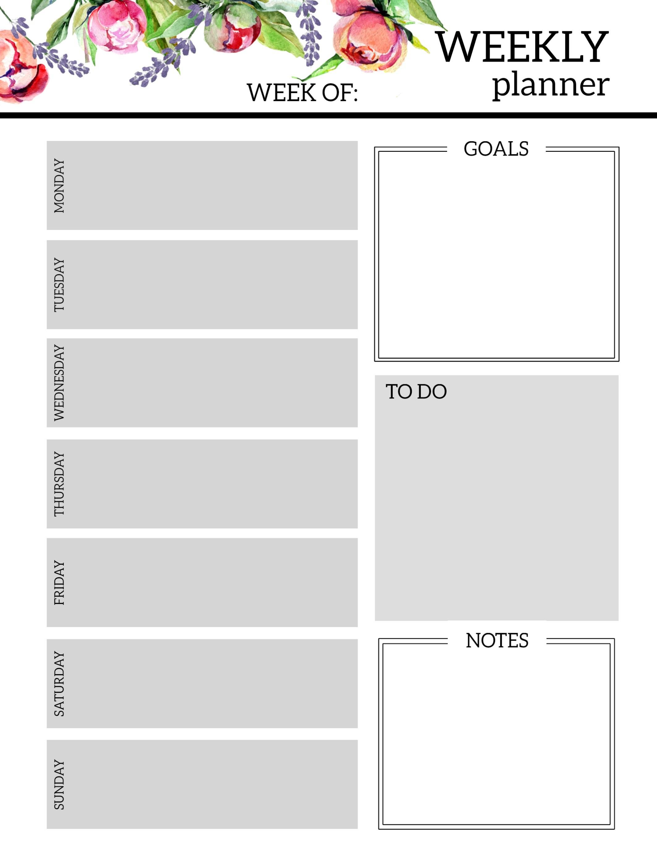 Floral Free Printable Weekly Planner Template - Paper Trail Design - Free Printable Templates