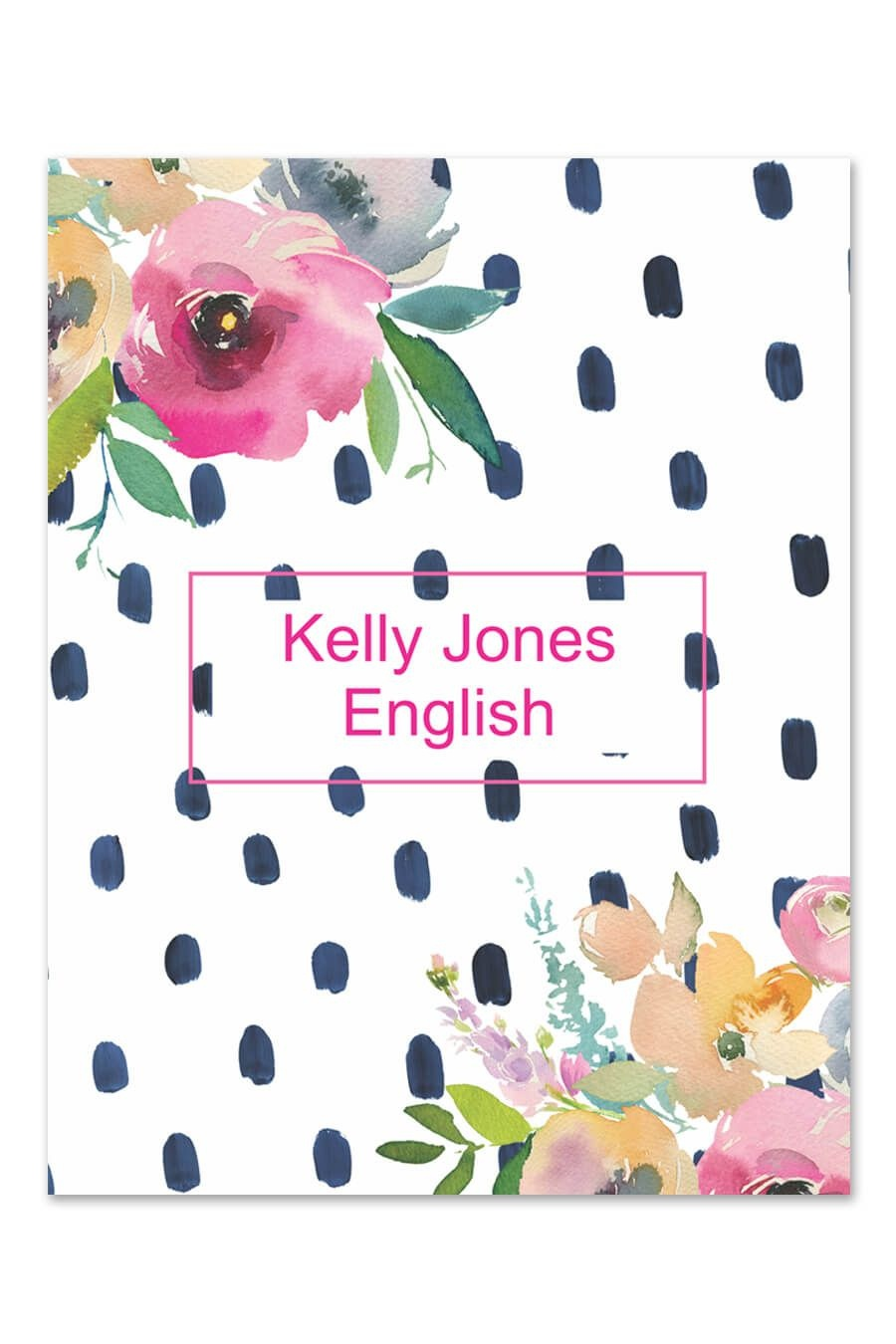 Floral Watercolor Dot Binder Cover | Art Styles | Binder Covers - Free Printable Watercolor Notebook Covers