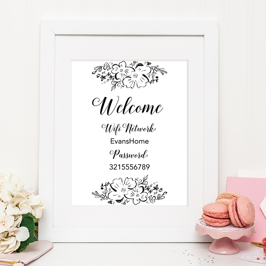 Floral Wifi Password Sign - Chicfetti - Free Printable Wifi Password Signs