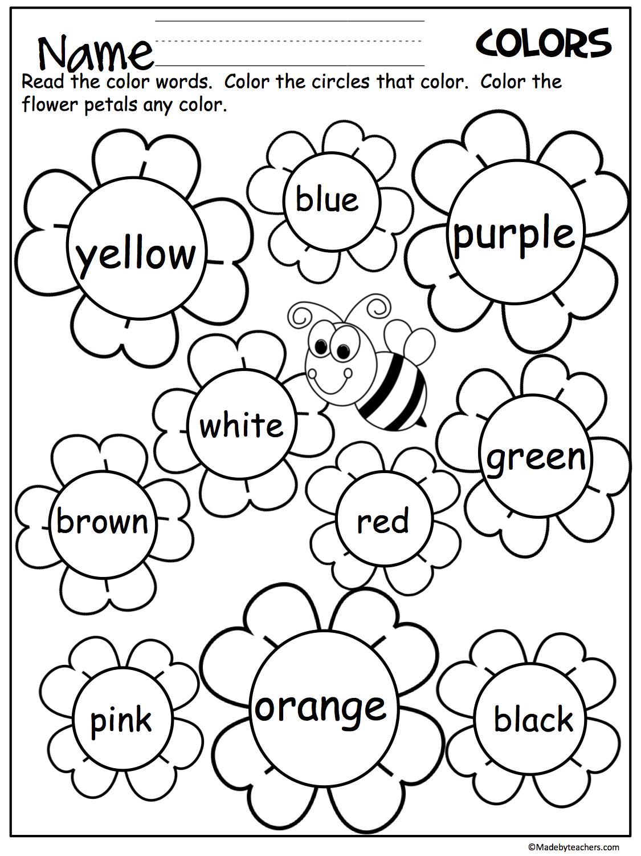 Flower Color Words Worksheet | My Future Classroom | Kindergarten - Colors Worksheets For Preschoolers Free Printables