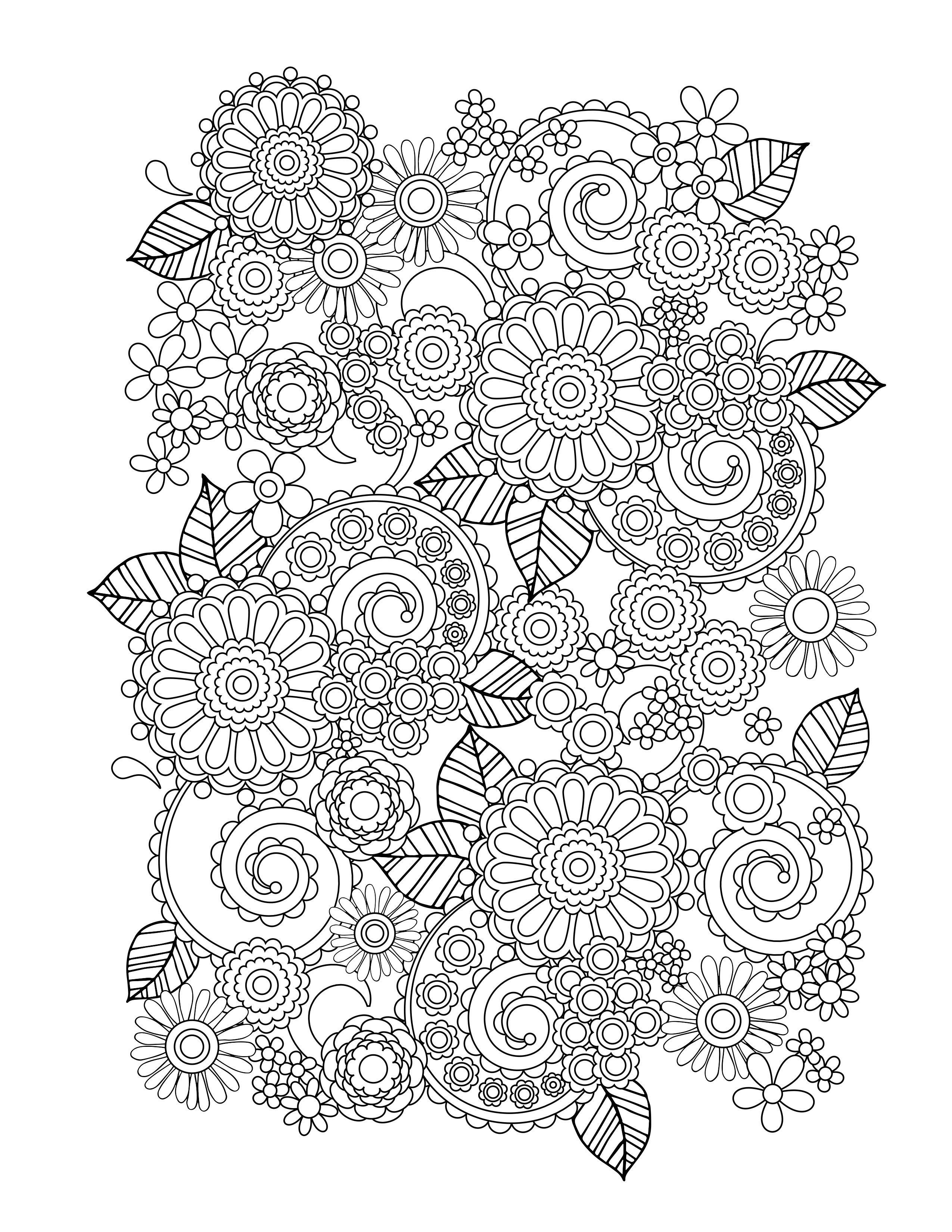 Flower Coloring Pages For Adults - Best Coloring Pages For Kids - Free Printable Flower Coloring Pages For Adults