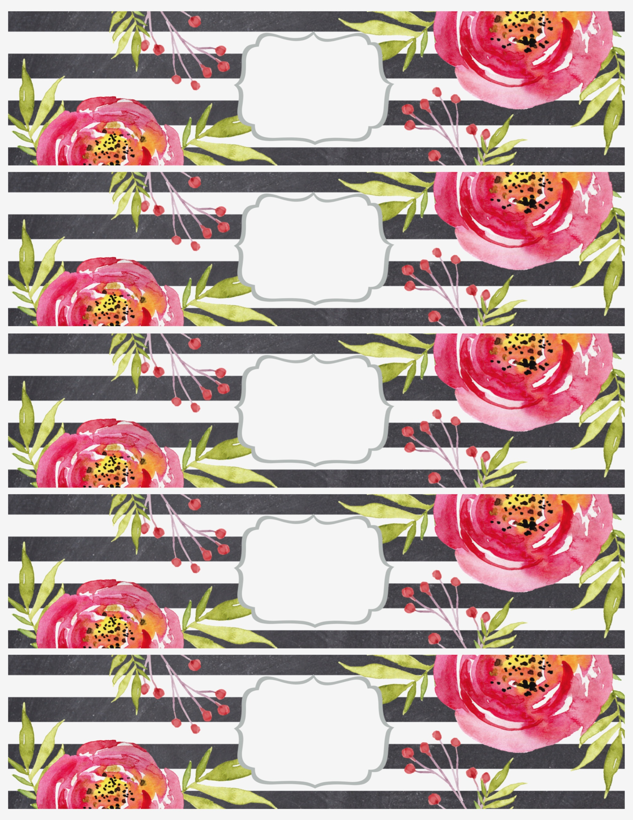 Flower Water Bottle Labels Free Printable – Paper Trail Design - Free Printable Floral Labels
