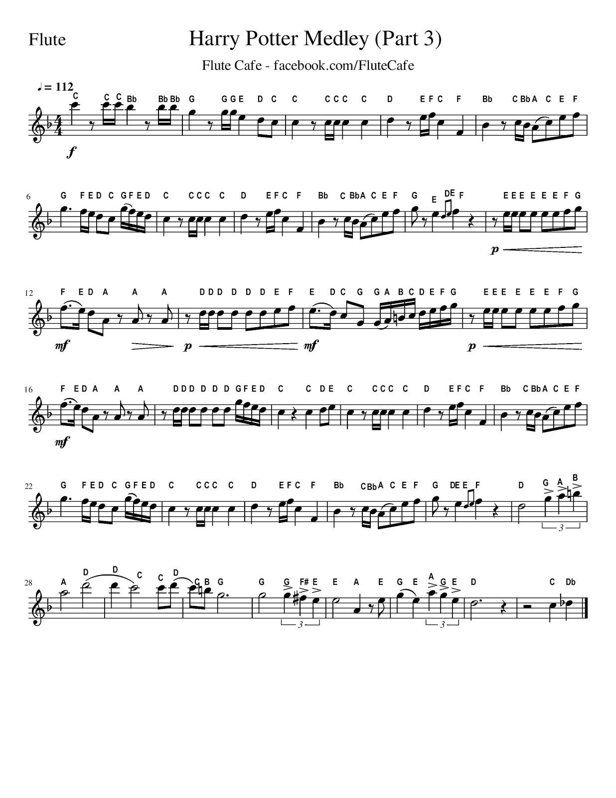 Flute Cafe: Harry Potter Medley (Flute Sheet Music) - Free Printable Flute Sheet Music For Pop Songs