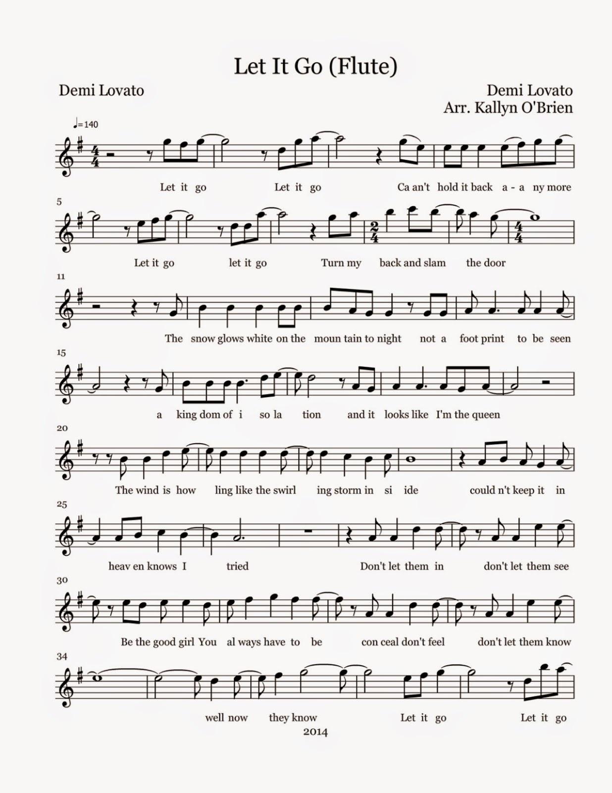 Flute Sheet Music: Let It Go - Sheet Music - Free Printable Flute Sheet Music For Pop Songs