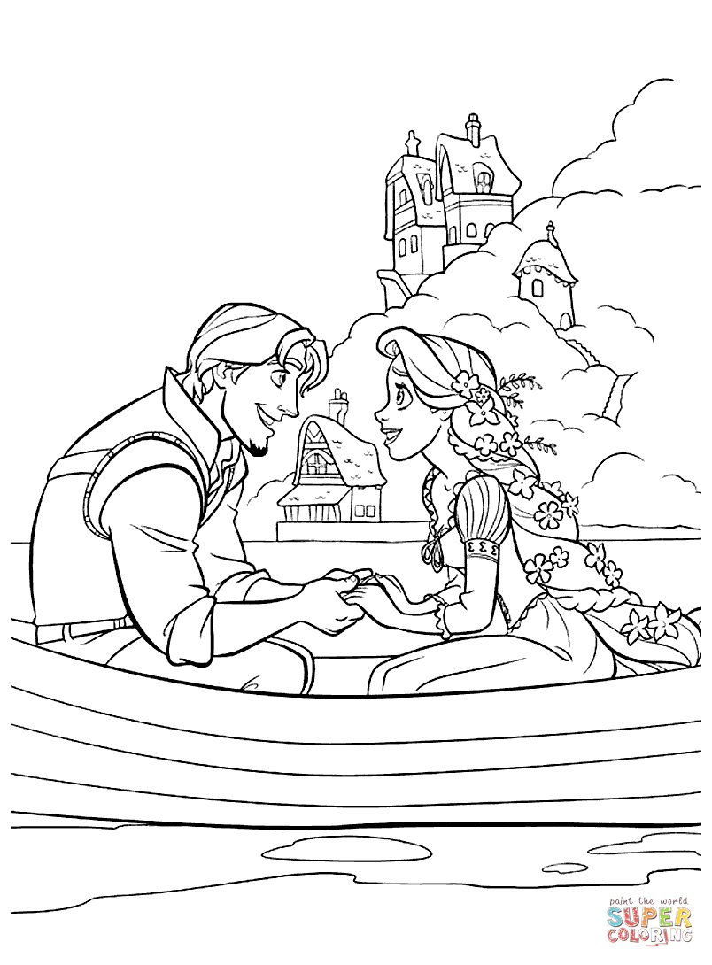 Flynn Rider And Rapunzel Coloring Page | Free Printable Coloring Pages - Free Printable Tangled
