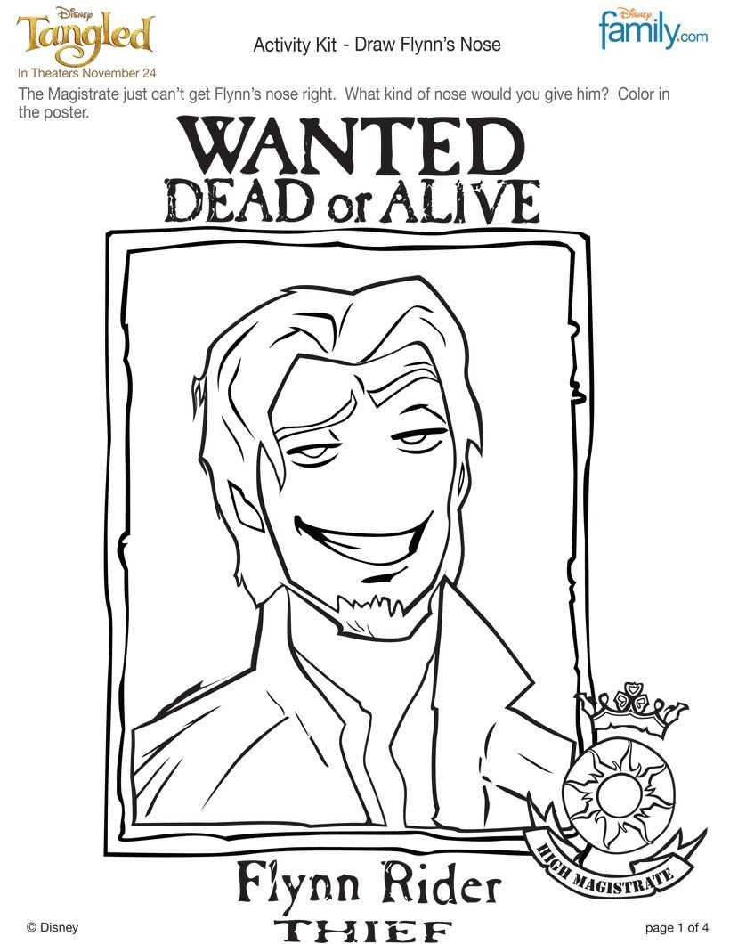 Flynn Rider Coloring Page. Blow This Up For Pin The Nose On Flynn - Free Printable Flynn Rider Wanted Poster