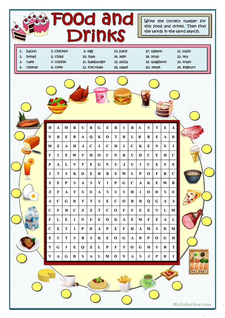 Food And Drinks Wordsearch Worksheet - Free Esl Printable Worksheets - French Word Searches Free Printable