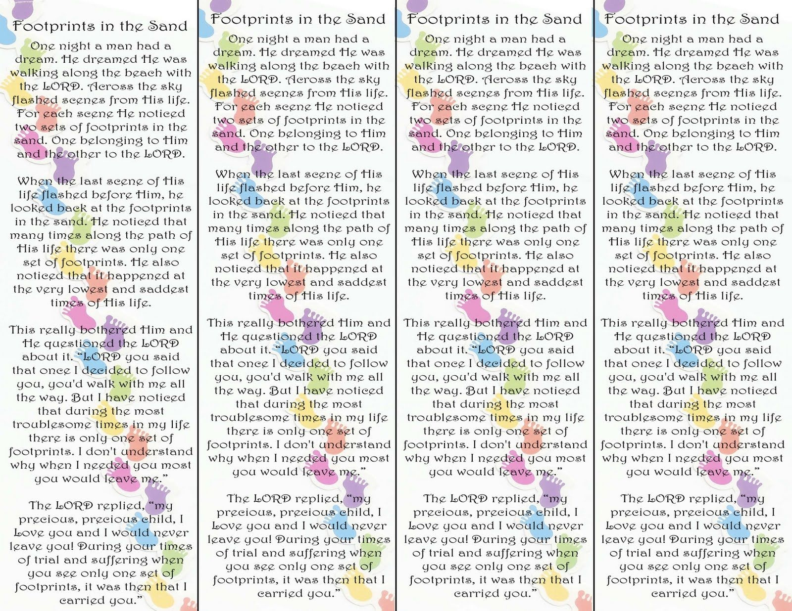 Footprints In The Sand Poem Bookmark Printable Version Visit The - Footprints In The Sand Printable Free