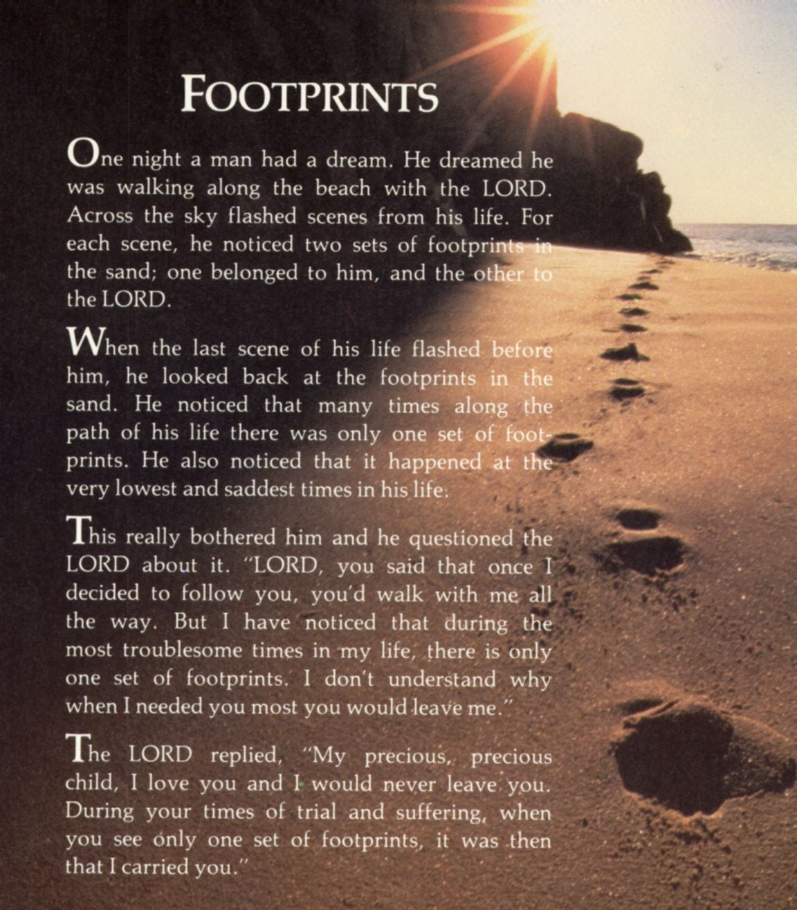 "Footprints In The Sand Poem | ""i Am The Master Of My Fate, I Am The - Footprints In The Sand Printable Free"