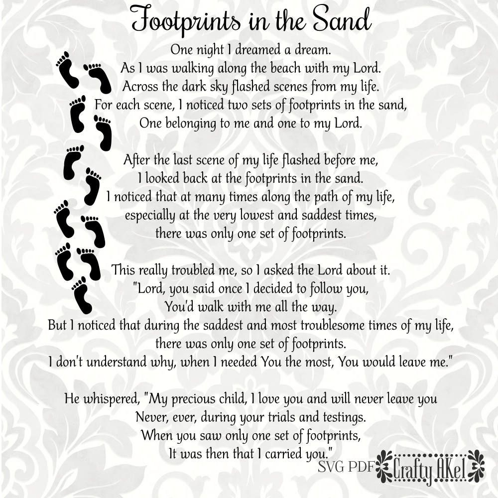 Footprints In The Sand Poem - Svg & Pdf Files - Vector - Clipart - Footprints In The Sand Printable Free