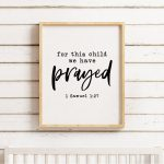 For This Child We Have Prayed Printable, 1 Samuel 1:27, Bible Verse   For This Child We Have Prayed Free Printable