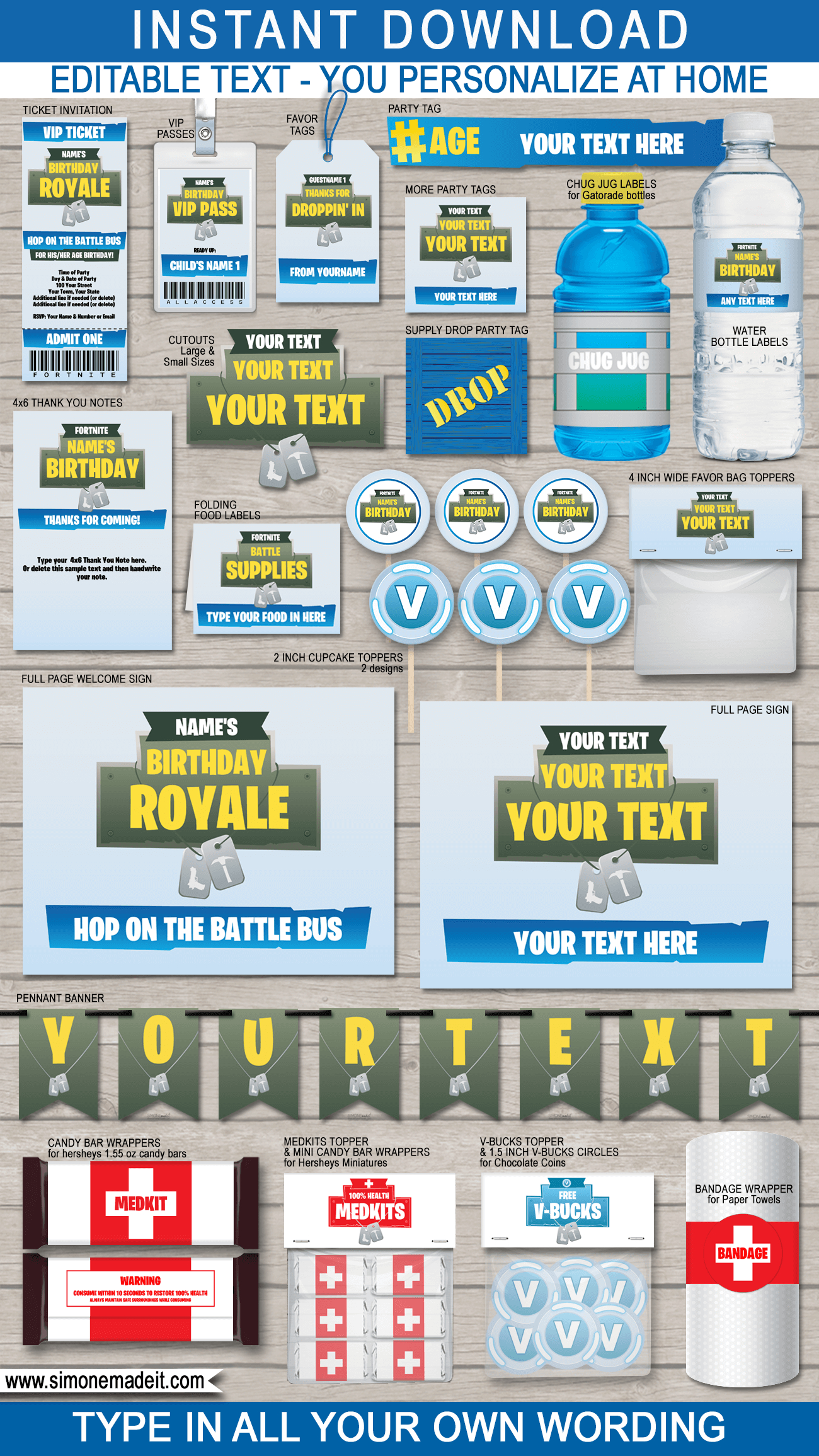 Fortnite Party Printables, Decorations & Invitations | Fortnite Theme - Fortnite Free Printables