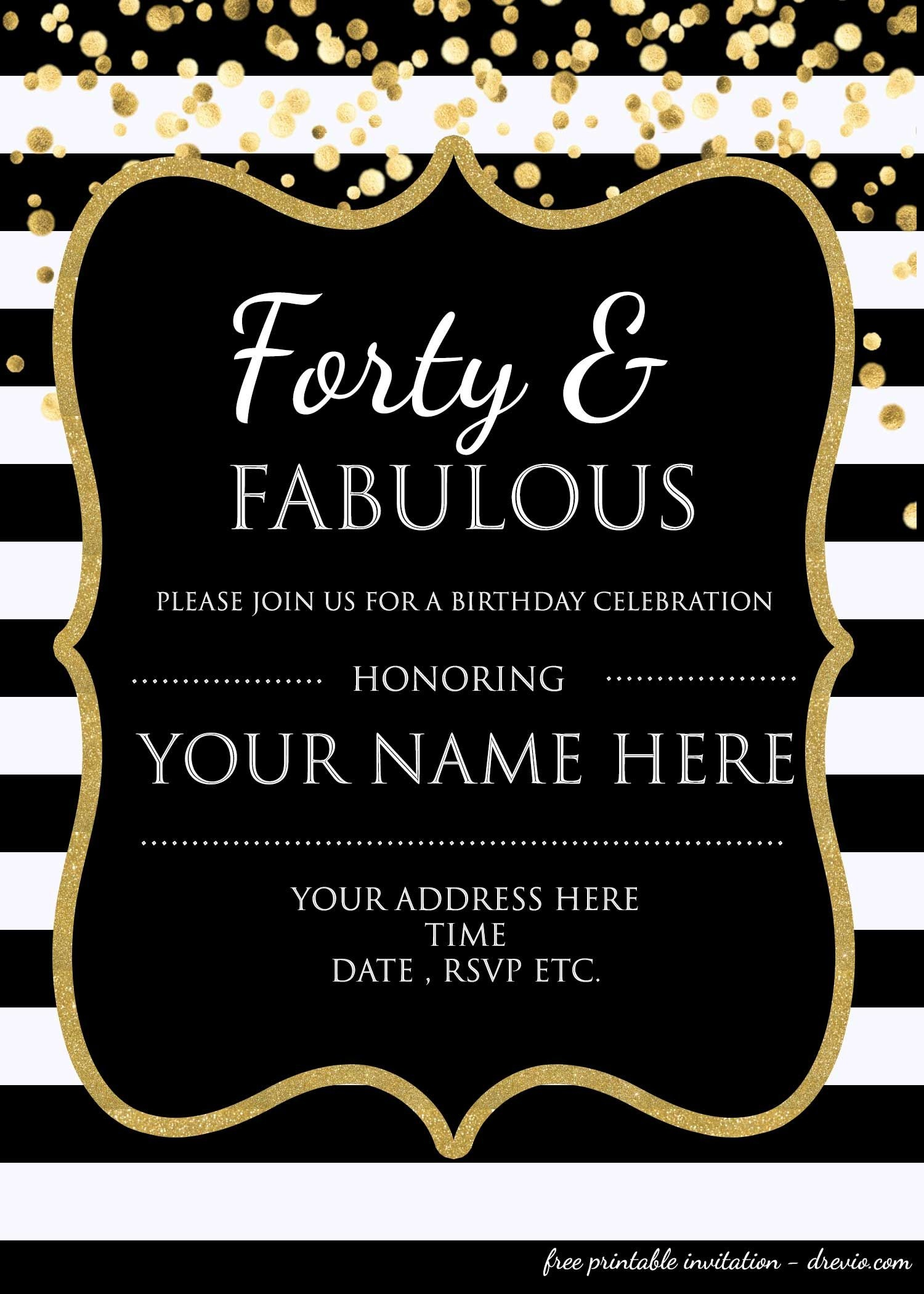 Forty & Fabulous : 40Th Birthday Invitation Template - Psd - Free Printable 40Th Anniversary Invitations