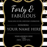 Forty & Fabulous : 40Th Birthday Invitation Template   Psd   Free Printable Surprise 40Th Birthday Party Invitations