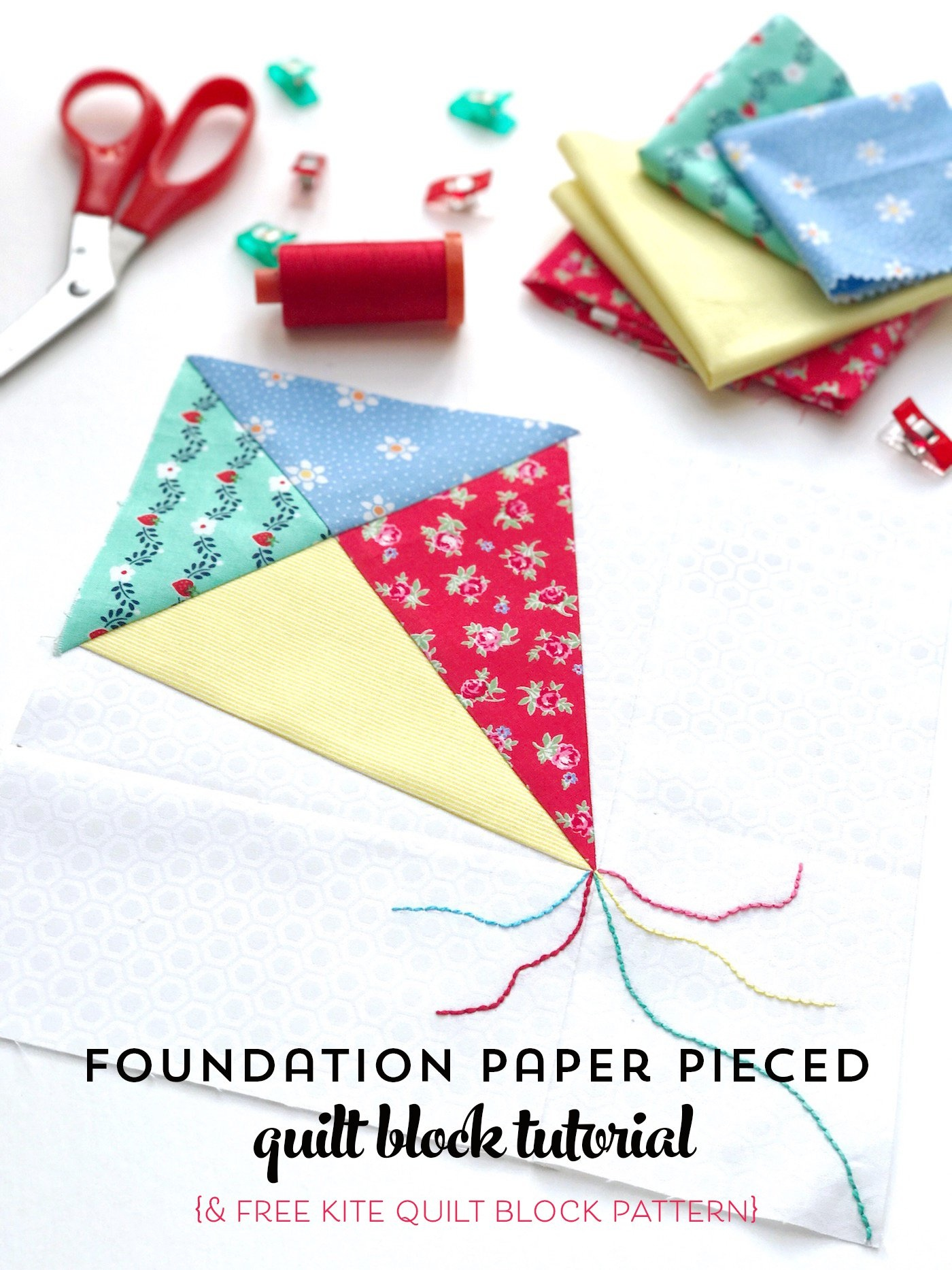 Foundation Paper Piecing Tutorial For Beginners With Free Kite Paper - Free Printable Paper Piecing Patterns For Quilting