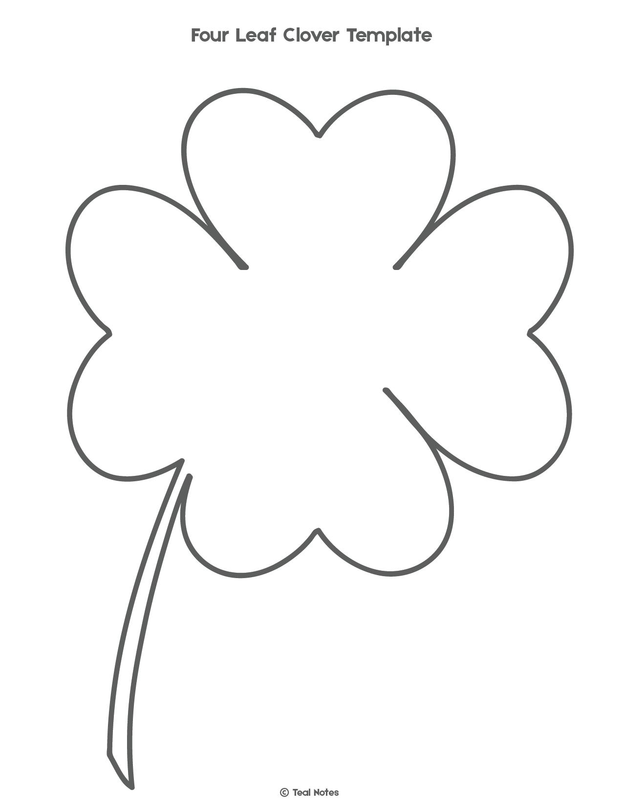 Four Leaf Clover Template: Free Shamrock Template Printable   Free - Four Leaf Clover Template Printable Free