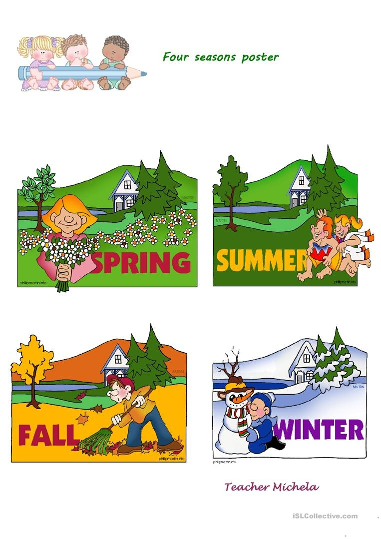Four Seasons Poster Worksheet - Free Esl Printable Worksheets Made - Free Printable Pictures Of The Four Seasons