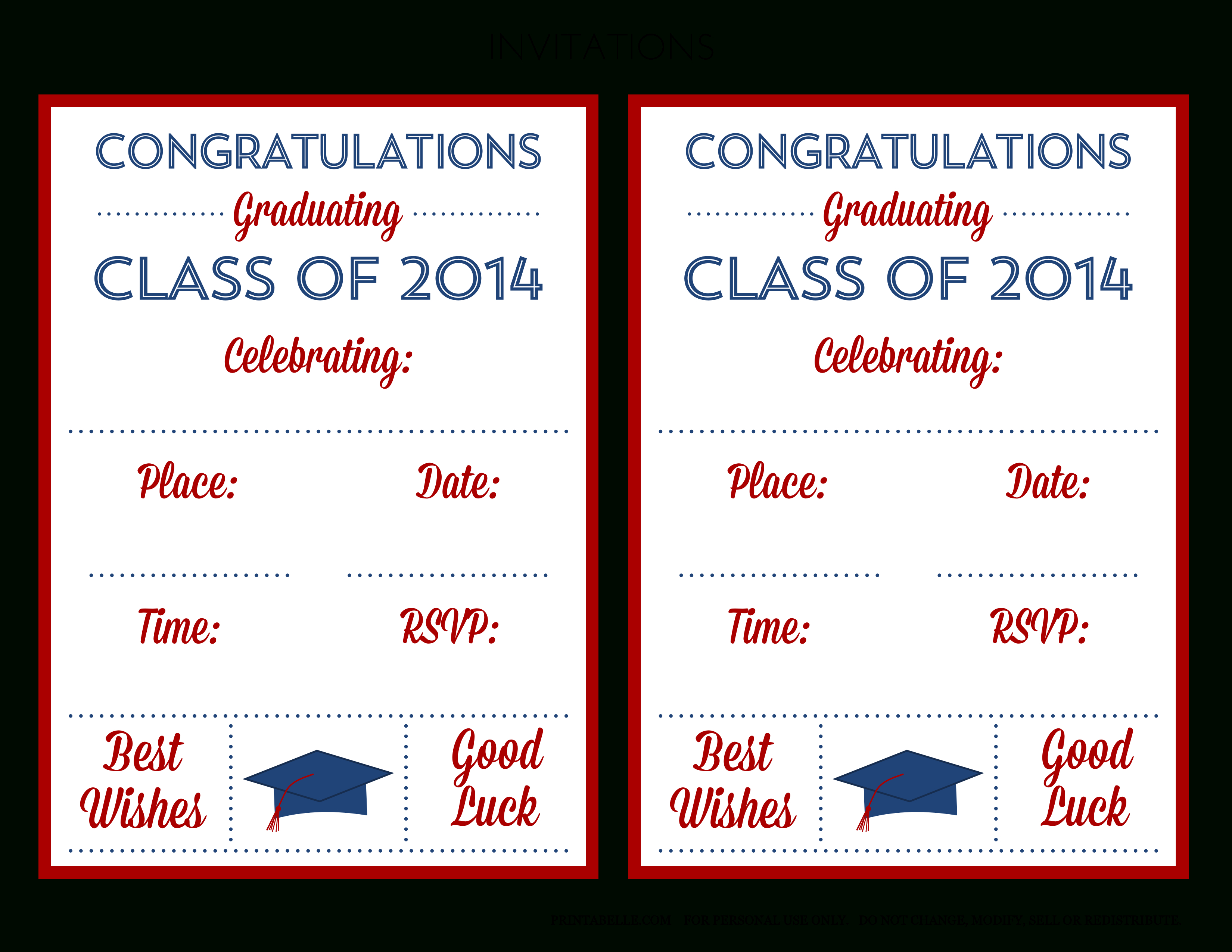 Free 2014 Graduation Party Printables From Printabelle | Catch My Party - Free Printable Graduation Invitations 2014