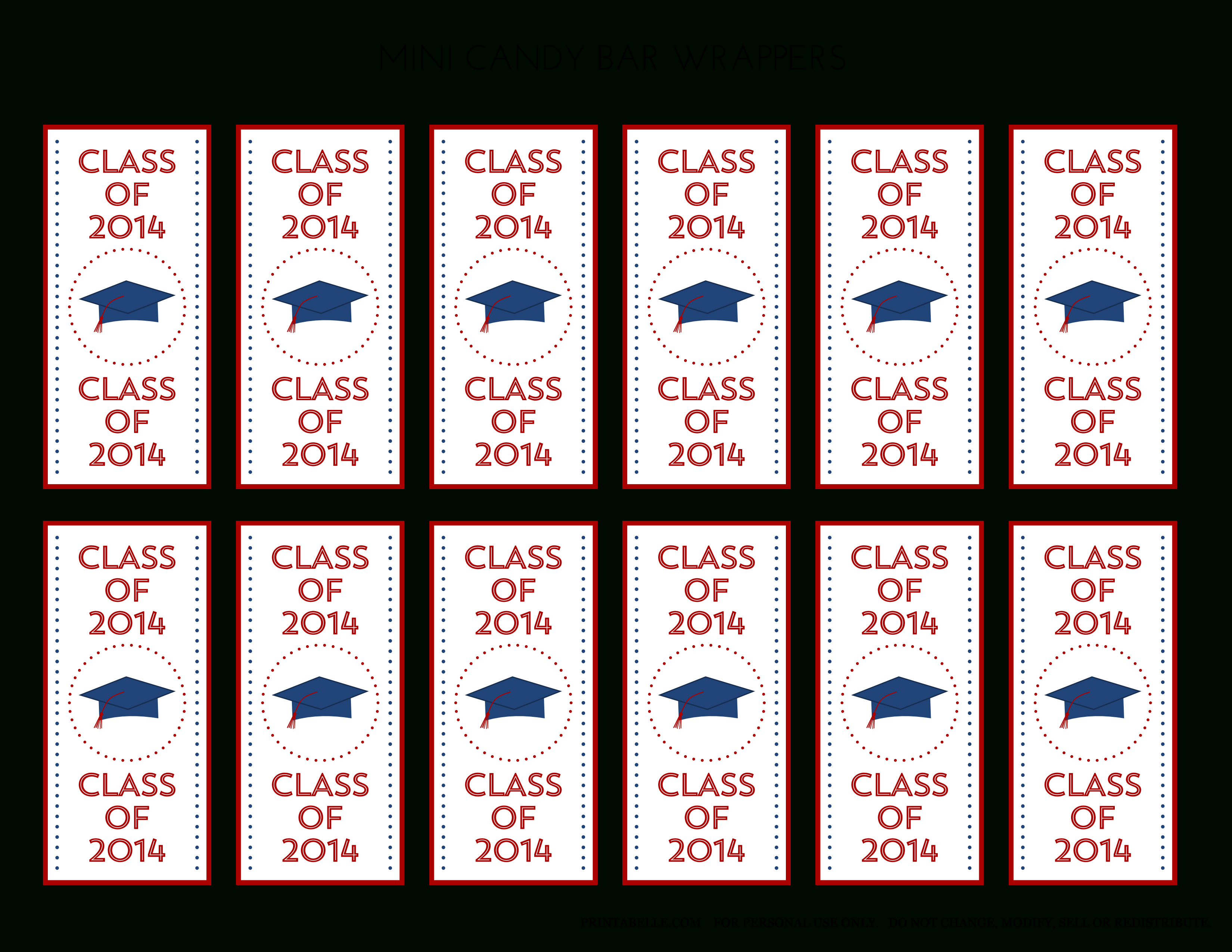 Free 2014 Graduation Party Printables From Printabelle | Catch My Party - Free Printable Mini Candy Wrapper Template