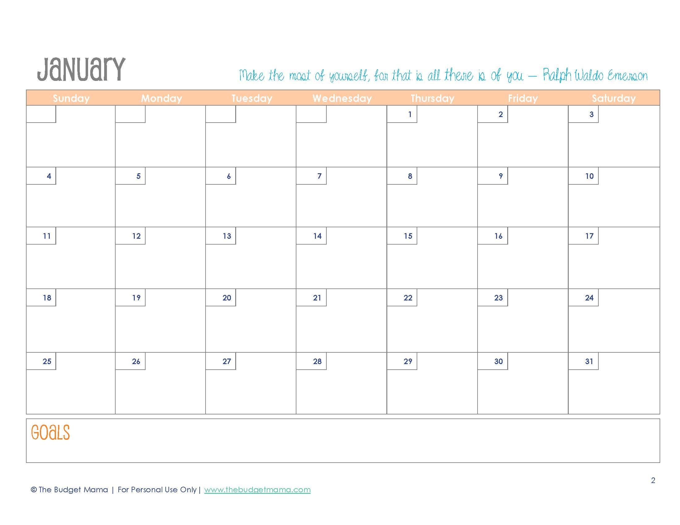 Free 2015 Planner Printables - Free Printable Diary 2015