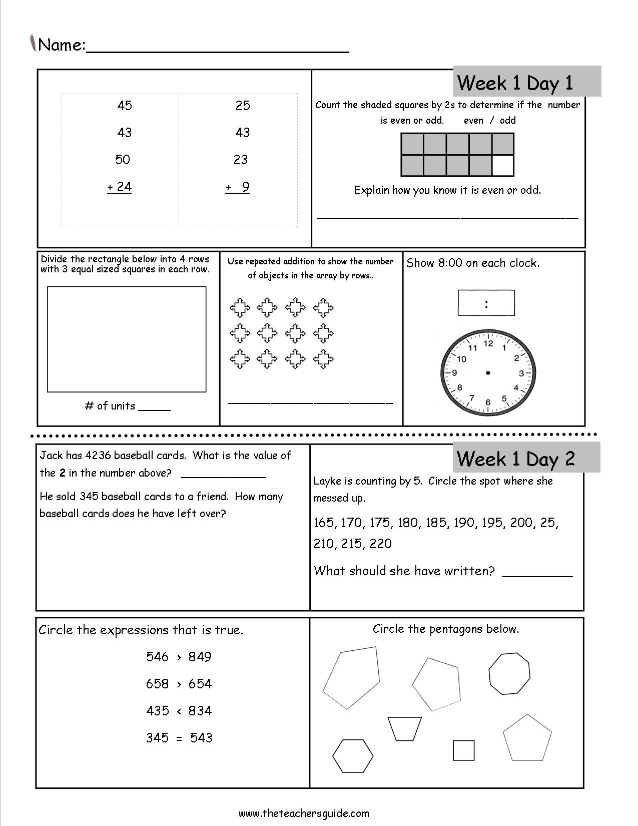 Free 3Rd Grade Daily Math Worksheets - Free Printable Grade Cards