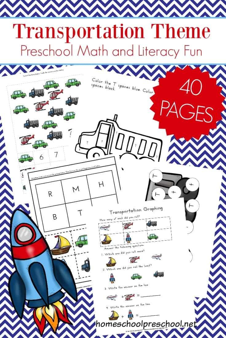 Free 40-Page Preschool Transportation Theme Printables - Free Printable Transportation Worksheets For Kids