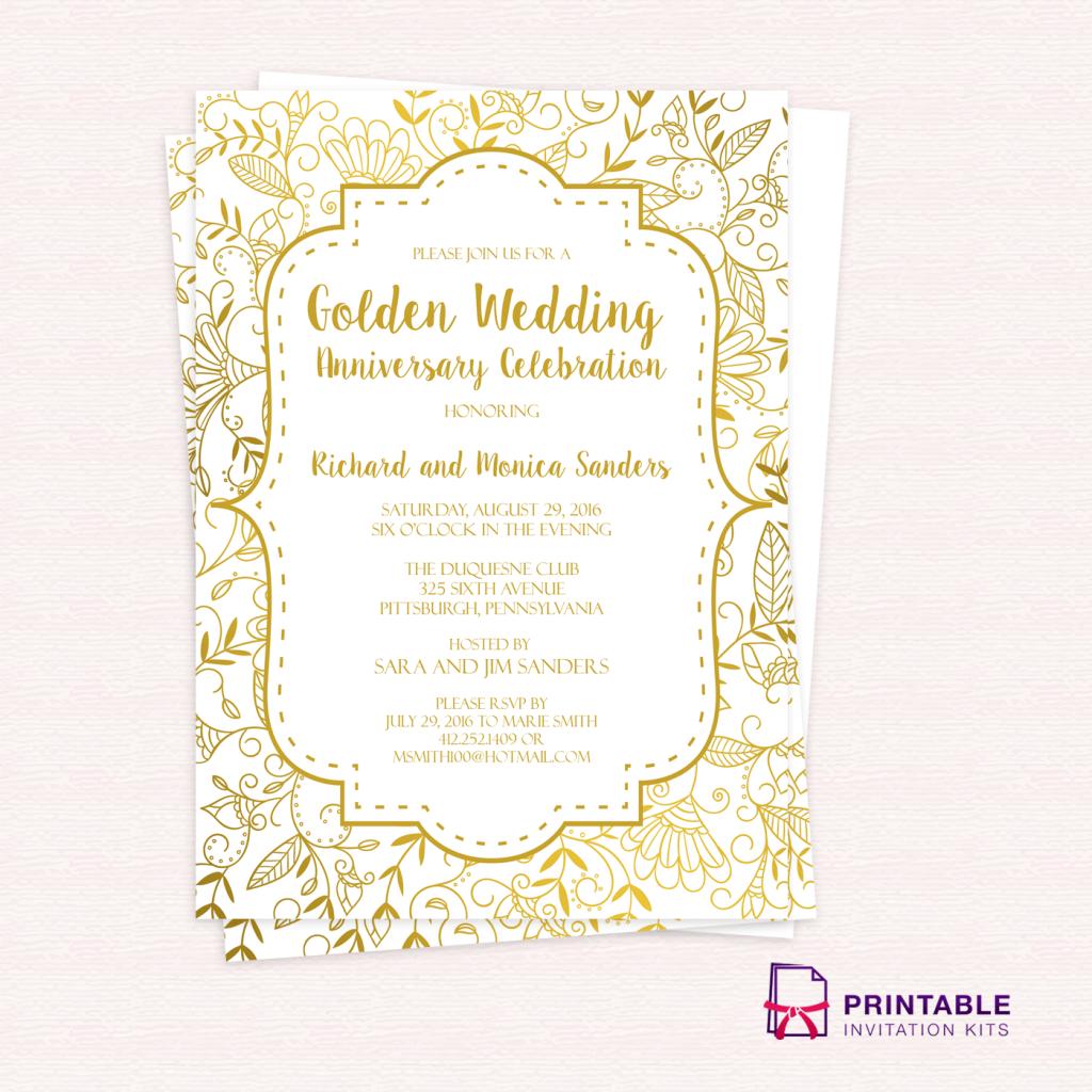 Free 50Th Anniversary Invitation Templates - Tutlin.psstech.co - Free Printable 40Th Anniversary Invitations