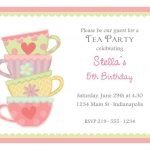 Free Afternoon Tea Party Invitation Template | Tea Party In 2019   Free Printable Vintage Tea Party Invitations