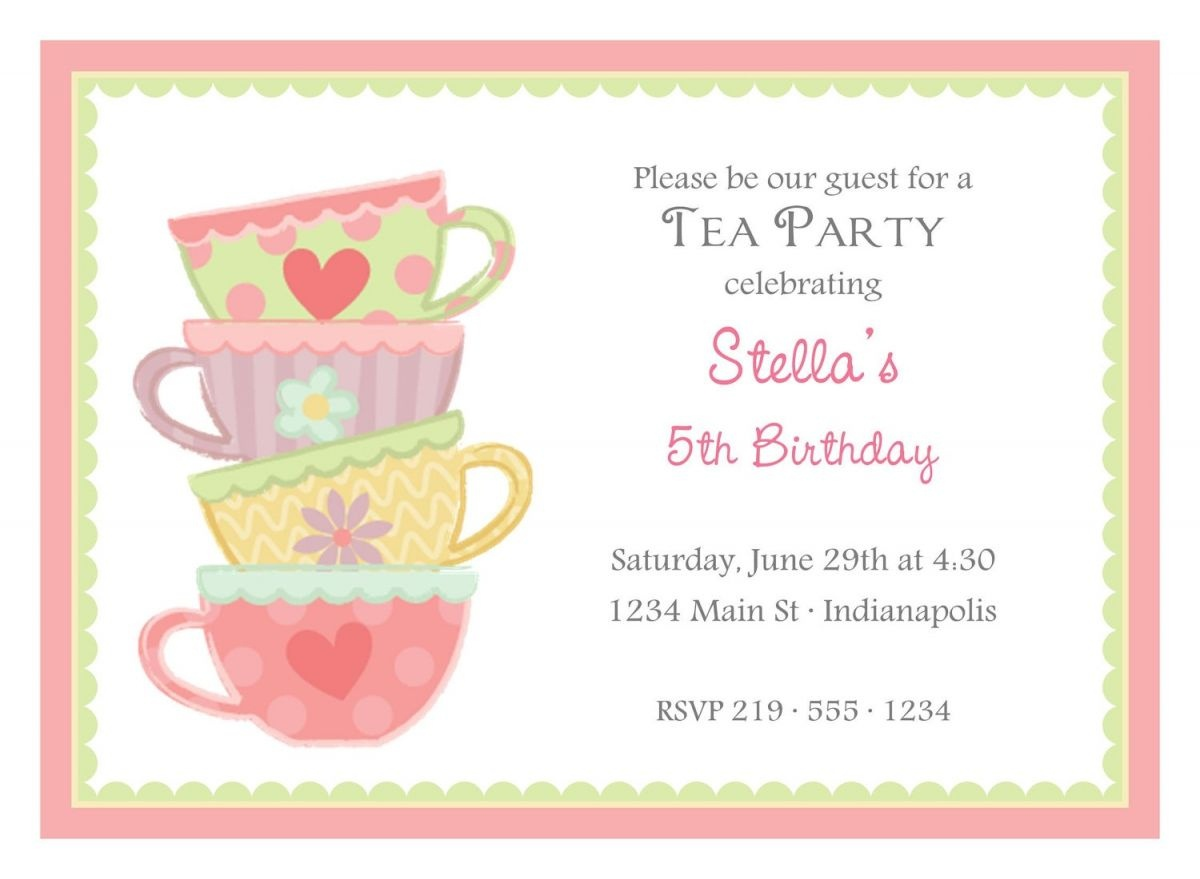 Free Afternoon Tea Party Invitation Template | Tea Party In 2019 - Free Printable Vintage Tea Party Invitations
