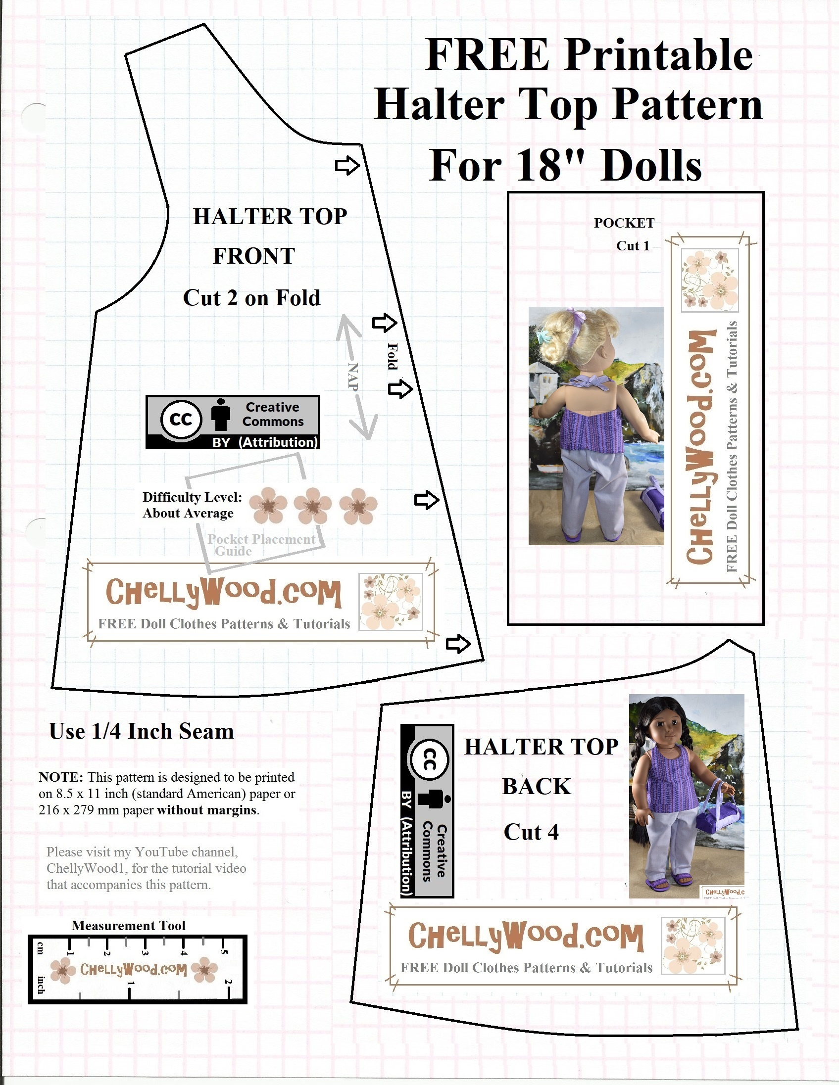 Free #agdoll Summer Shirt Pattern @ Chellywood #sewing 4#dolls - American Girl Clothes Patterns Free Printable