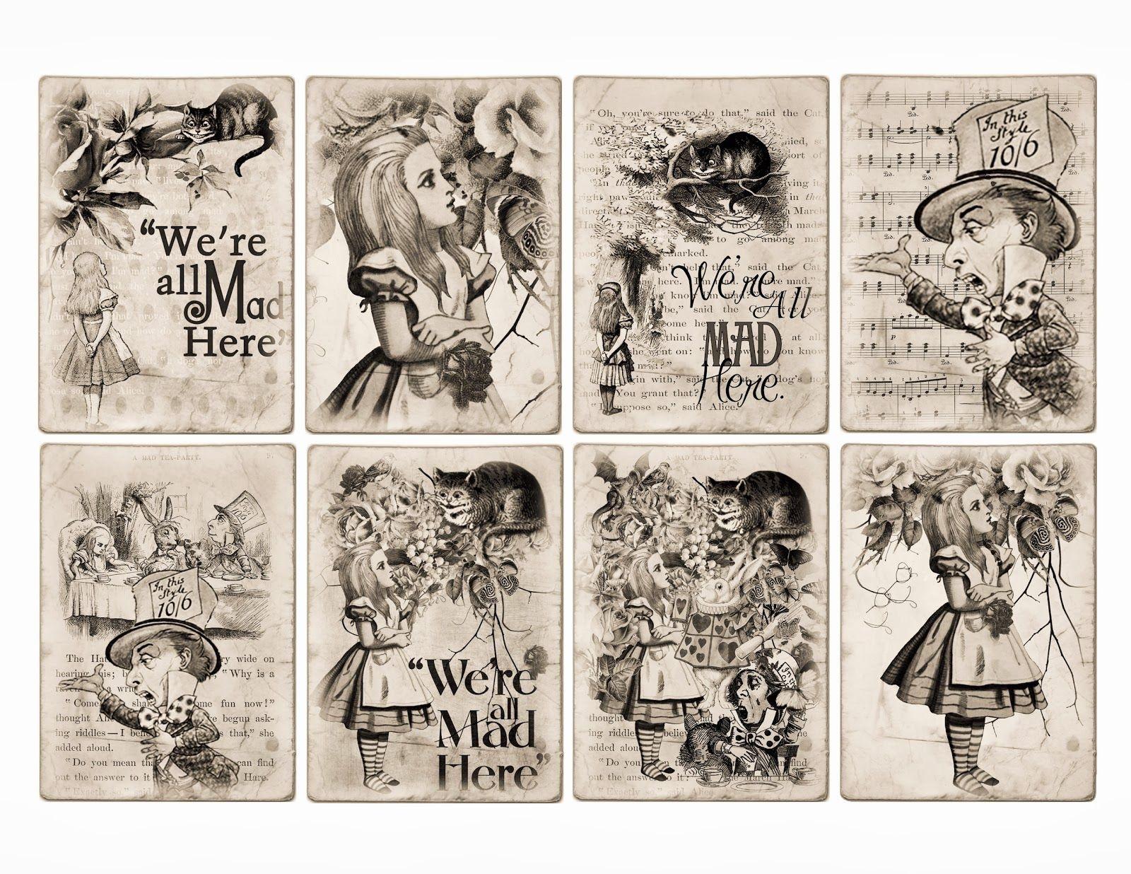 Free Alice In Wonderland Atc Tags Background Digital Collage Sheet - Free Printable Alice In Wonderland Eat Me Tags