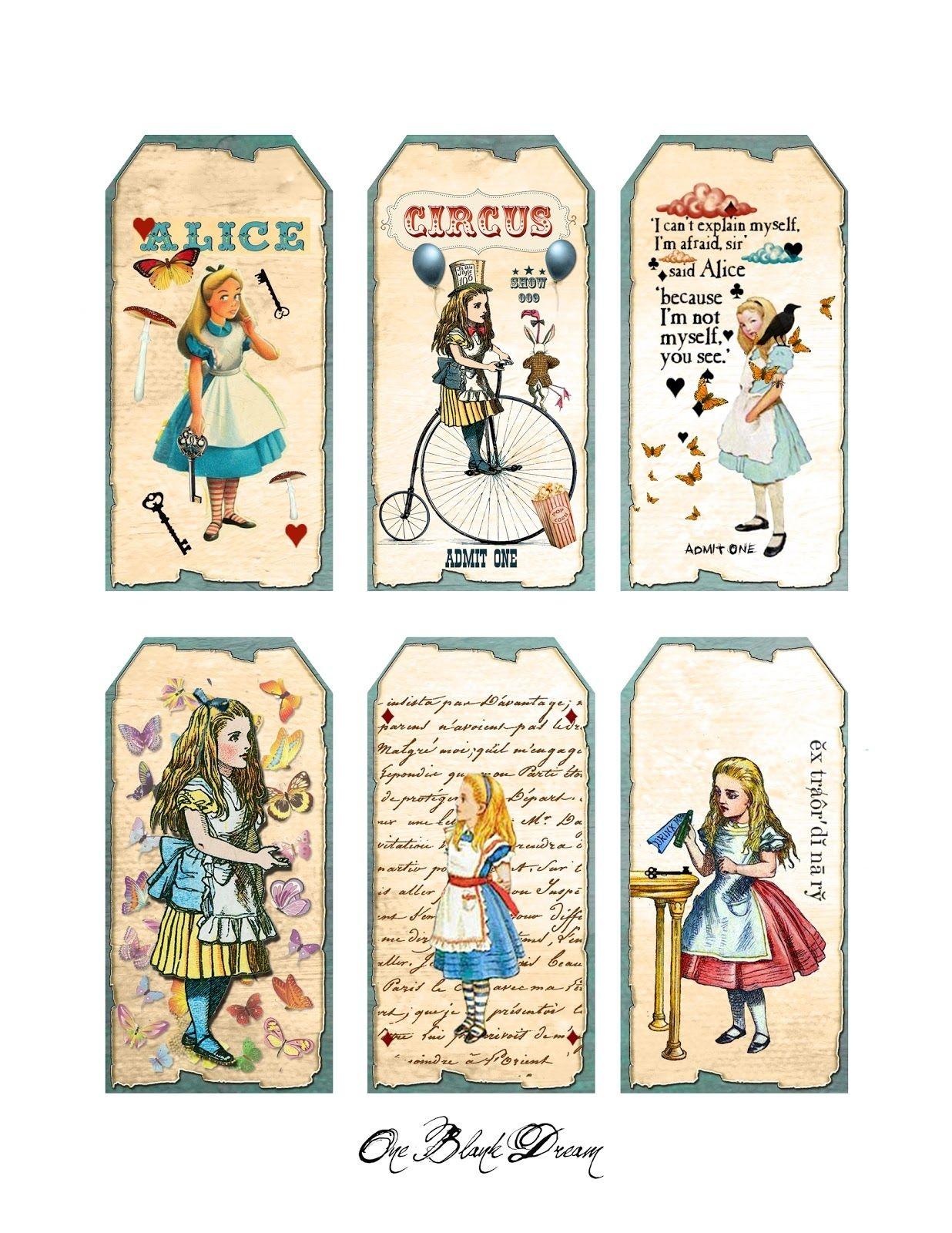 Free Alice In Wonderland Cutouts | Free Alice In Wonderland Tags - Alice In Wonderland Free Printables