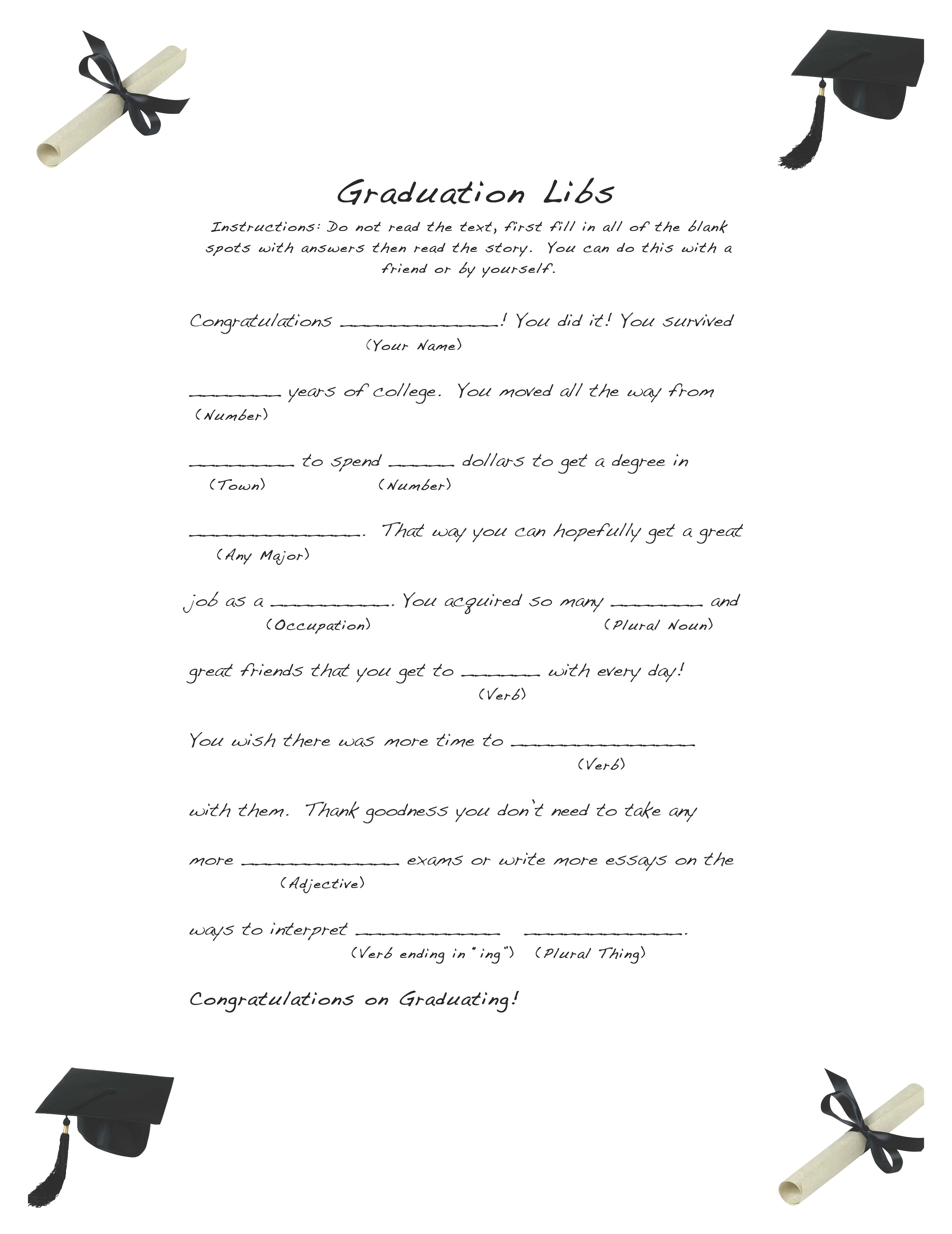 Free And Easy Graduation Libs – Easy Event Ideas - Free Printable Graduation Party Games