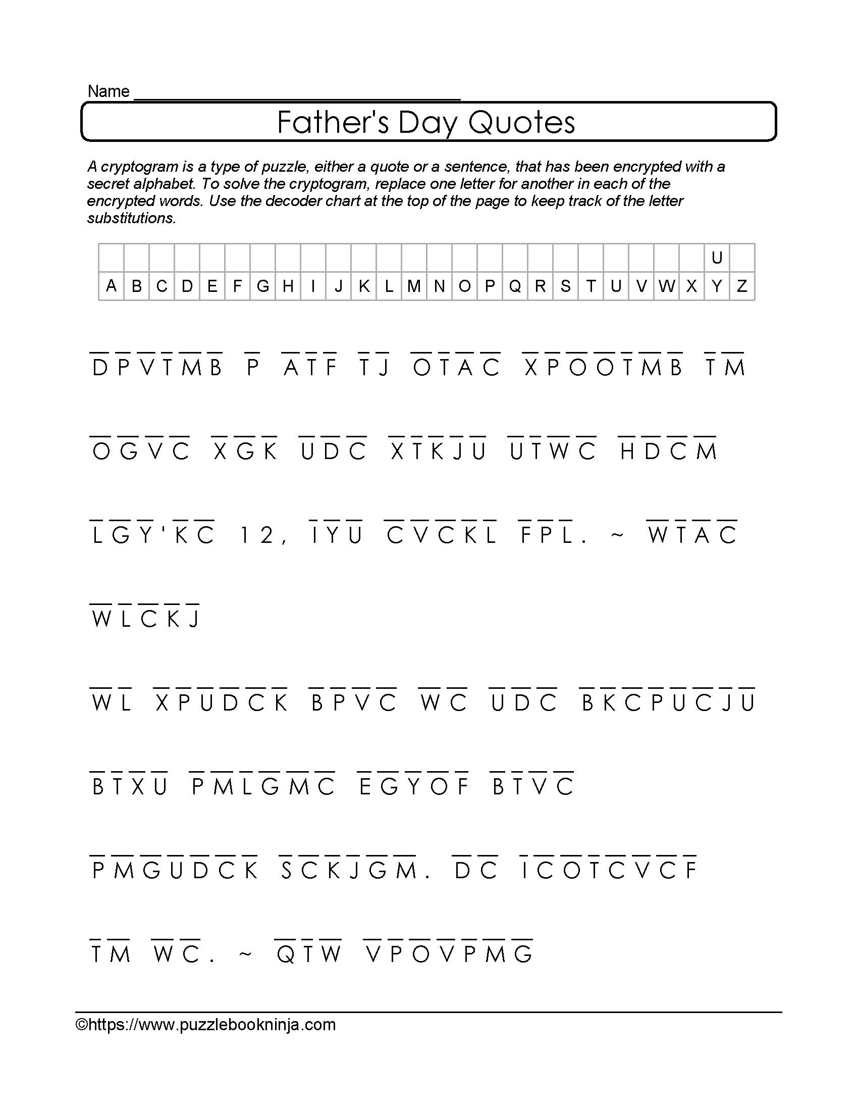 Free And Printable Father's Day Cryptogram. Quotes About Dad - Free Printable Cryptograms