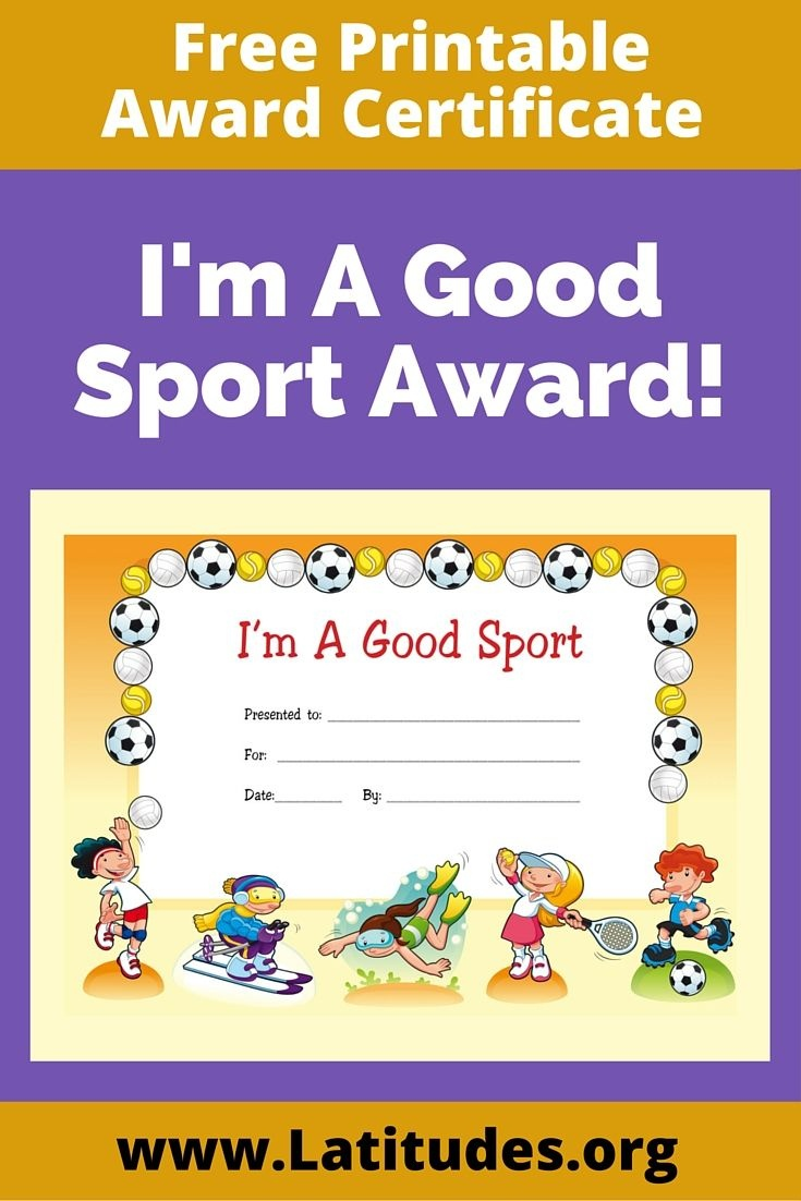 Free Award Certificate - I'm A Good Sport (Primary | Rewarding Good - Free Printable Sports Day Certificates