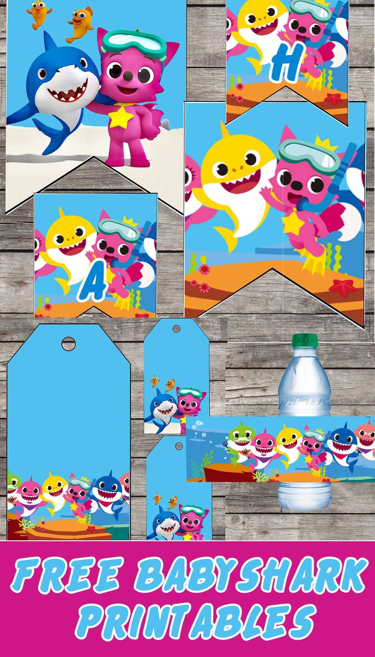 Free Baby Shark Birthday Party Printable Files | Banners | Cupcake - Free Baby Shark Printables