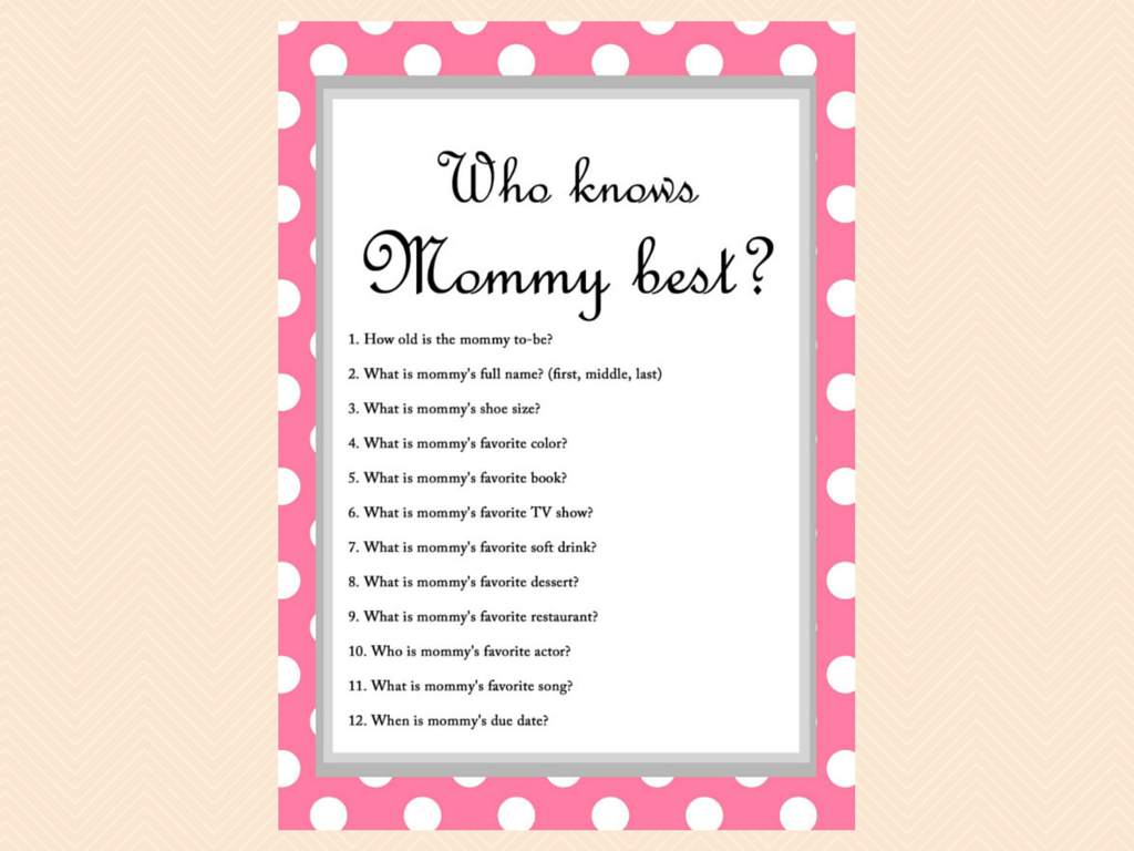 Free Baby Shower Game - Who Knows Mommy Best | Baby Shower Craft - Free Printable Baby Shower Games Who Knows Mommy The Best