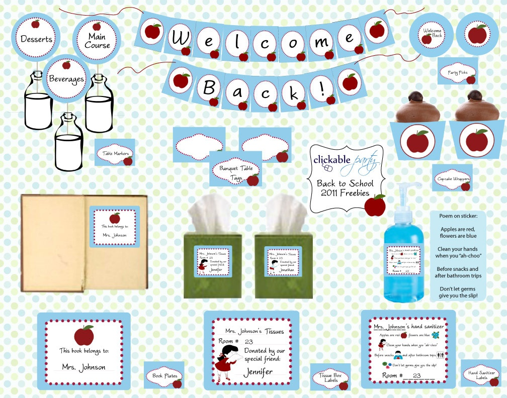 Free Back To School Printables From Clickable Party | Catch My Party - Free School Printables